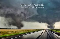 June 16, 2014 ~ Rare twin tornadoes in Nebraska. Photo by Tony Laubach.