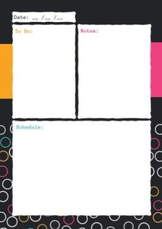 Daily planner with a funky colourful bubble background. Plenty of room to add all your daily tasks and chores. Daily Task, Daily Planners, Planner Template, How To Stay Motivated, To Focus, Getting Organized, Bubble, Templates, Motivation