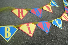 Superman Happy Birthday Banner in Red, Blue and Yellow, by BananaLala, $22.00