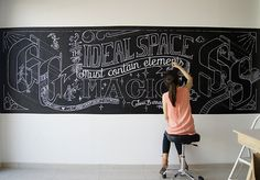 Chalk lettering process in our previous studio.Lettering Design: Gemma Román.Chalk lettering: Gemma Román, Silvia Caro and Abel Montaño. Blackboard Art, Chalkboard Lettering, Chalkboard Designs, Chalkboard Decor, Mural Art, Wall Murals, Wall Art, Chalk Wall, Chalk Board