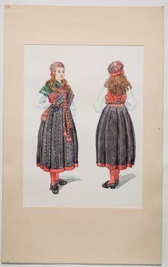 Delsbo, Hälsingland, Akvarell av Emelie von Walterstorff utförd på Nordiska museet. Kvinnan bär bindmössa, sidensjal, randigt livstycke, plisserad kjol med röd list nedtill, kjolväska, randigt förkläde med breda band och röda strumpor. Hon har även en överdel eller en överdelssärk på sig.
