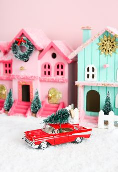 🌟Tante S!fr@ loves this📌🌟Pinned It, Made It, Loved It: DIY Christmas Village christmas village Pinned It, Made It, Loved It: DIY Christmas Village - The Crafted Life Gingerbread Christmas Decor, Retro Christmas Decorations, Christmas Village Display, Christmas Party Games, Christmas Villages, Noel Christmas, Christmas Colors, Christmas Projects, Vintage Christmas