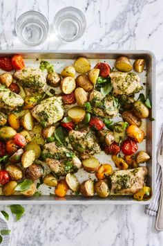 "Easy, Meaty Sheet Pan Meal | ""Follow this formula for a family-friendly weeknight meal. Using the variations here or whatever you have on hand, simply toss everything together on one 10x15-inch baking pan. Then let your oven do the work!"" #easy #easyrecipes #quickandeasy #easyrecipesideas #dinner #supper #sheetpandinner #easydinnerideas #sheetpansupper #easysupperideas Quick Supper Ideas, Flat Iron Steak, Sheet Pan Suppers, Fast Easy Meals, Baking Pan, Recipe Directions, Recipe Inspiration, One Pot Meals, Original Recipe"