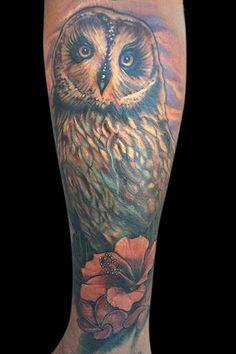 Owl and Hibiscus Tattoo by Spencer Caligiuri: TattooNOW :