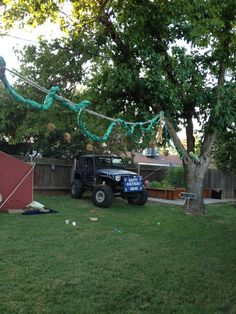 Safari Party Our Jeep In The Backyard To Add Atmosphere