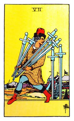 Tarot Minor Arcana card: Seven of Swords Betrayal right before the decisive battle. It may not lead to defeat, but victory is suddenly more distant. Archetype Betrayal