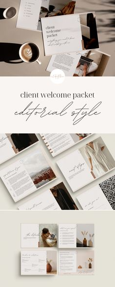 Our beautiful, editorial style Client Welcome Packet will help you show your clients just how professional you are. This packet includes a welcome message, review of your services, your process, and what your client should expect from you - the perfect way to start your new clients off on the right foot. Simply swap out colors, text, photos and more to make it your own and match your branding! Page Table, Welcome Packet, About Me Page, Social Media Template, All Fonts, Cover Pages, Website Template, Editorial, Branding