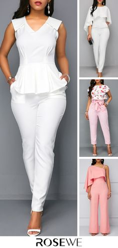 Upgrade your wardrobe and try new styles this year. White V Neck Sleeveless Peplum Summer Chic Jumpsuit Casual Work Outfits, Basic Outfits, Stylish Outfits, Girl Outfits, Curvy Girl Lingerie, Looks Chic, Summer Chic, Jumpsuits For Women, Fashion Dresses