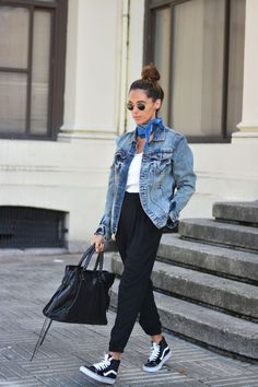 Hightop Vans, black pants, white top, jean jacket....so fly. So laidback. So casual cool. <3 @benitathediva