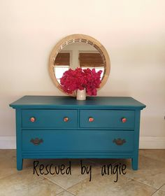 Painted in Gypsy Teal by Valspar and mixed with BB Frosch chalk paint powder coated with a clear wax. Knobs are from Hobby Lobby. Available for purchase. #valspar #bbfrosch #hobbylobby #furnituremakeover #chalkpaint #upcycledfurniture #decor #decorating #paintedfurniture #forsale #rescuedbyangie