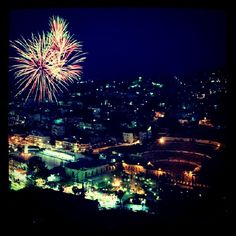 Colorful fireworks over the Roman Theare in dowtown #Amman #Jordan