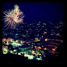 Colorful fireworks over the Roman Theare in dowtown #Amman #Jordan #JO