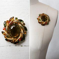 1950s brooch | vintage 50s brooch | 1950s rhinestone brooch | rhineston brooch | rhinestone jewelry | Autumn Colors Rhinestone Brooch by VivianVintage8 on Etsy