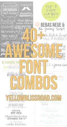 40+ Awesome Font Combos ~ >Favorite Handwritten Font Combos >Vintage & Retro Inspired Font Combinations >Fancy Font Combos for Wedding and Parties >Chalkboard Font Combos >Top Five Favorite Free Font Combos >How to Install Free Fonts on Your Computer. Download Links @: http://www.yellowblissroad.com/favorite-font-combos/