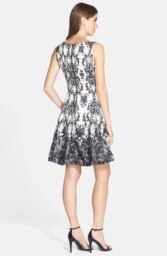 b5f49b74d43 Taylor Dresses Print Shantung Fit   Flare Dress (Regular   Petite)