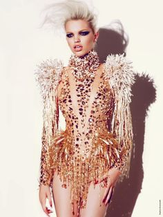 Alexandre Vauthier at Couture Fall 2012 stunning sparkly gold couture.