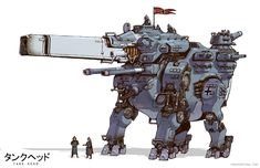 """March of Robots 04 """"The fire of the Mammut Heavy Tankhead roared like the ancient beast from which the war machine got its name."""" For my project: Tankhead Character Concept, Character Art, Gurren Laggan, Transformers, Cool Robots, Robot Concept Art, Super Robot, Dark Souls, War Machine"""