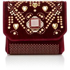 Mini Cross Over Bag   Moda Operandi ($1,500) via Polyvore featuring bags, handbags, shoulder bags, miniature purse, velvet purses, cross over purse, mini shoulder bag and red handbags