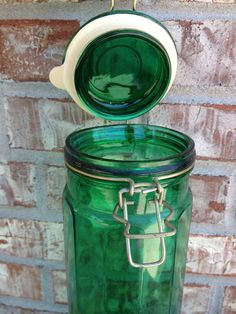 Vibrant Emerald Green Glass Latch Lid Canister - Pasta - Tall / Slender - Rubber Seal  on Etsy, $13.95