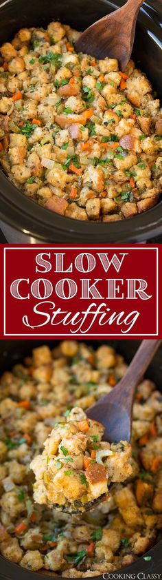 Slow Cooker Stuffing - This has been my go-to stuffing recipe for years! Always a crowd pleaser! Definitely dry your own bread cubes tastes better and has a better texture. You can also add sausage or mushrooms to this.