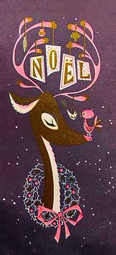 Christmas •~• vintage greeting card of Noel reindeer & bird