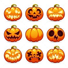 Halloween Cartoon Pumpkins Icons Set by Voysla Description Halloween Cartoon Pumpkins Icons Set. In this set you will get fully editable vector AI, EPS, transparent PNG and laye Halloween Cartoons, Halloween Vector, Halloween Ii, Halloween Drawings, Halloween Pumpkins, Halloween Crafts, Vintage Halloween, Pumpkin Template, Pumpkin Vector