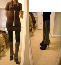 how to wear a sweater dress with leg warmers - Google Search