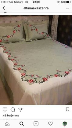 This Pin was discovered by Emi Cushion Embroidery, Silk Ribbon Embroidery, Embroidery Stitches, Embroidery Patterns, Hand Embroidery, Sheet Curtains, Designer Bed Sheets, Crochet Cross, Bed Sheet Sets