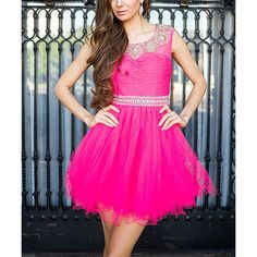 Nox Anabel Fuchsia Narianna Tulle A-Line Dress ($67) ❤ liked on Polyvore featuring dresses, fuchsia cocktail dress, long evening dresses, sparkly cocktail dresses, pink sequin dresses and evening dresses