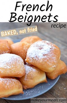 Classic New Orleans French Beignets recipe - baked not fried beignets neworleans french donuts doughnuts MardiGras fattuesday powderedsugar dough breakfast recipe makeyourmeals # French Dessert Recipes, Quick Dessert Recipes, Sweet Recipes, Delicious Desserts, Yummy Food, French Recipes, Healthier Desserts, Easy Recipes, Easy Cookie Recipes