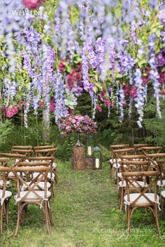 Hanging Wisteria Canopy Wedding Ceremony by Rachel A. Clingen photo by @5ive15ifteen
