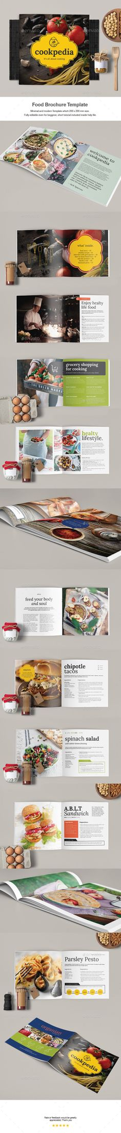 Food Brochure Template  — InDesign Template #fabric texture #templates • Download ➝ https://graphicriver.net/item/food-brochure-template/18597072?ref=pxcr