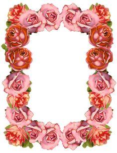 FREE printable and digital vintage rose frame and border