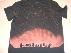 Want to try a bleach shirt with the silhouette of the fellowship of the ring on it like this one.