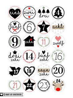 zahlen f r den diy adventskalender zum ausdrucken advent advent pinterest advent. Black Bedroom Furniture Sets. Home Design Ideas