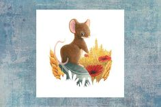 Fields Mouse - Summer animals series Available as a postcard Fields, Illustrations, Etsy, Summer, Painting, White Paper, Computer Mouse, Cards, Animaux