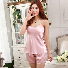 Women Sexy Silk Satin Pajama Sleeveless Pyjama Femme Round Neck Pijama Set Plus Size Sleepwear Nightwear Summer Indoor Clothing