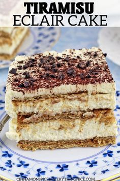 This is seriously one of the fastest, easiest, most delicious no-bake refrigerator cakes to ever cross your lips! Tiramisu in the style of an eclair cake. No Bake Desserts, Easy Desserts, Delicious Desserts, Layered Desserts, Sweet Recipes, Cake Recipes, Dessert Recipes, Egg Recipes, Dessert Ideas