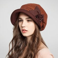Flower beret hat for women autumn winter wool hats