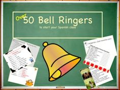 A POWERPOINT slide show of 59 different bell ringer activities to use to start your Spanish class. These Spanish 1 concepts review material and are a great way to get class started. You can edit any slide to your own preference. Includes culturally-rich backgrounds as well. A bargain at $6.99