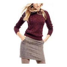 Crew Neck Cable Jumper in Burgundy ($29) ❤ liked on Polyvore featuring tops, sweaters, cable sweater, cableknit sweater, purple sweater, cable knit crew neck sweater and crewneck sweater