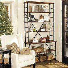 "$425 42"" w 84"" h could use basket on bottom shelves for hidden storage Sonoma Bookcase"