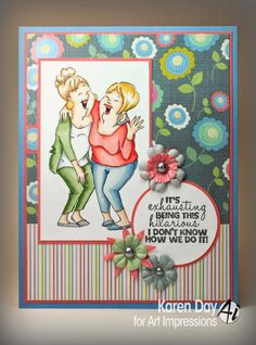 Laughing Set (Sku#4385) from Art Impressions Girlfriends line.  Friendship card.