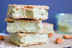 Matcha Vanilla Ice Cream Sandwiches [Vegan, Gluten-Free] uses matcha powder and vanilla protein powder