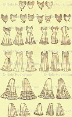Victorian Undergarments   Victorian Lingerie - nalo_hopkinson - Spoonflower