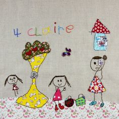 Hand stitched kids drawing