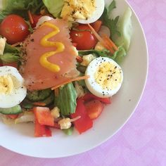 Such a random meal going on here  lettuce & carrot with smoked salmon smoked cheese a boiled egg tomatoes cucumber & peppers topped with orange mustard. I aptly name this the 'I need to go shopping salad!'   Also a super late #WOMP for my lovely ladies  @fit_girl_chant @fitgirl_osullivan @fitgirleldon @fit_girlanna  Tagged girls what's on the menu?