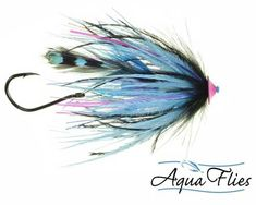 Aqua Flies - Stu's Jungle Tail Turbo Cone Steelhead Tube Fly Fishing Fly - Black Blue - Set of 3 Flies