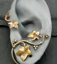 Golden Leaf Ear Wrap AUTUMN Intricate Fall by SunnySkiesStudio