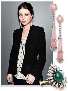 Baublebar rose-quartz earrings and jade ring